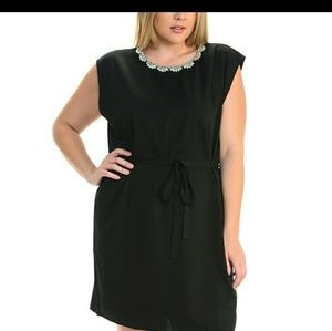 Lovely Black Beaded Collar Dress Size 3X